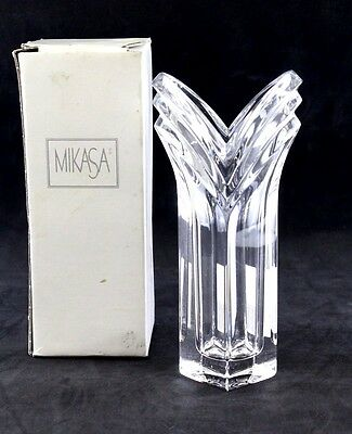 "Crystal Mikasa Bud Vase V-Shape 8.5"" Art Deco New / Damaged Box German 027622"