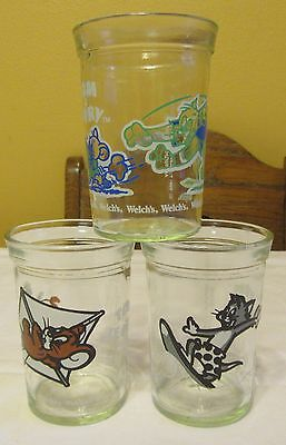 3 Vtg 1990 & 1991 Tom & Jerry Welch's Jelly Jam Glass Jars Juice Cups 8 ozs