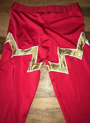 Pro Wrestling Gear TIGHTS men's Red And Gold LUCHA style Lycra SPANDEX long