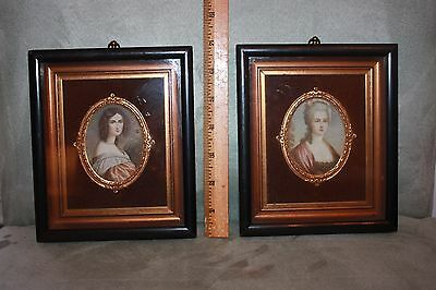 Pair of Miniature Portrait Prints Ornate Bow French antique vintage Women Framed