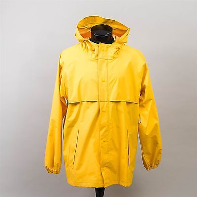 Classic Land's End Rain Coat Bright Yellow Unisex Size Large Waterproof Hooded