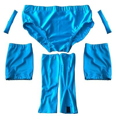 Pro Wrestling Gear Blue Trunks, Knee Pad Covers, Bicep Bands, Kickpad Covers