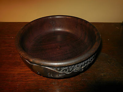Carved Rosewood Bowl. Carved African Dish. Wooden Bowl.