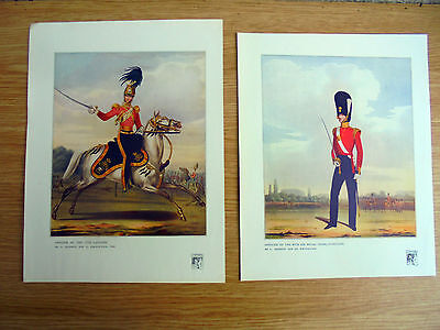 5 coloured 1914 glossy prints of soldiers from paintings of the 1840`s