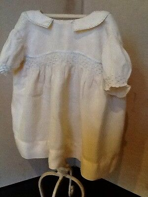 Vintage Child's Smocked And Embroidered Dress In Cream Silk