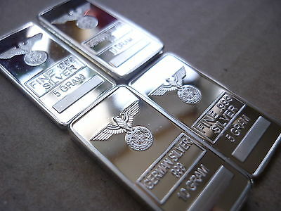German SILVER bars 2 X 10 gram and 2 X 5 gramRARE size 30MM X 15MM
