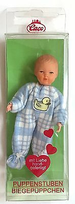 """Caco Dollhouse TODDLER DOLL 1:12 scale Miniature 3"""" Baby Boy Blue Germany"""