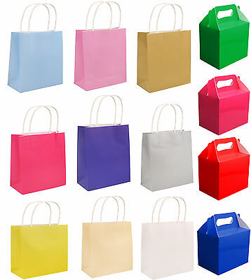 Craft Paper Gift Party Bags , Food Boxes Wedding Birthday Christmas Baby Shower