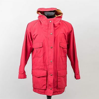 Eddie Bauer Rain Coat Unisex Size Large Bright Red Gold Lining Waterproof Hooded