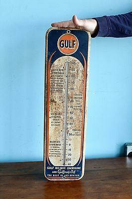 Original 1950's Gulf Station Advertising Gas Oil Thermometer Rare!
