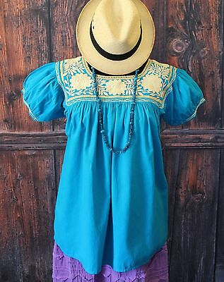 Turquoise & Beige, Hand Embroidered Blouse, Mayan Chiapas Mexico, Peasant Boho
