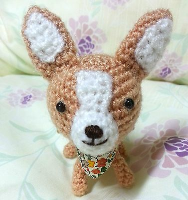 Chihuahua dog crocheted handmade dollhouse gift size 3×4 inches