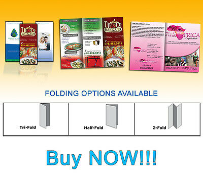 1,000 Custom Brochures /Full Color/Folded/Glossy 2 SIDES REAL PRINTING no copies