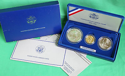 1986 BU Statue of Liberty Gold Silver Dollar & Half 3-Coin $5 Gold $1 Silver Unc