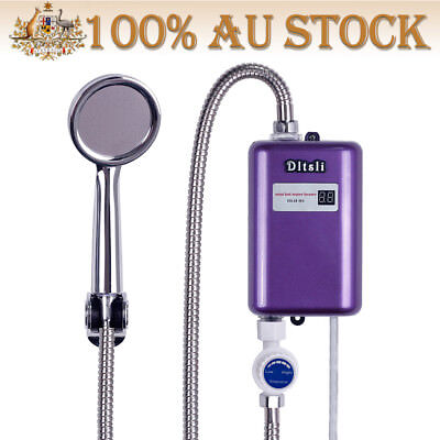 Mini Tankless Instant Shower Hot Water Heater Electric Hot Water System - Purple
