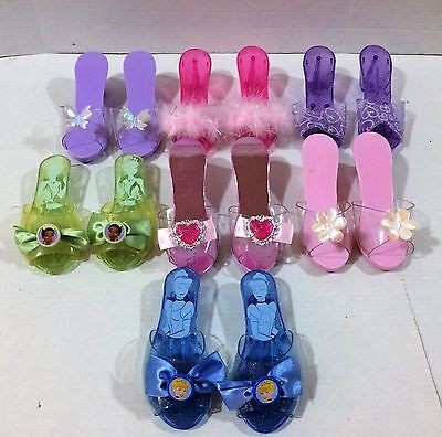 Girls Dress Up Costume Shoes 7 pairs Disney Princess Tiana Cinderella!