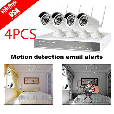 4PCS IP Wifi 4CH 720P CCTV NVR Outdoor Wireless Network Security Camera System V