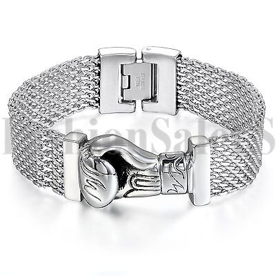 New Men's Silver Tone Mesh Stainless Steel Boxing Glove Cuban Curb Link Bracelet