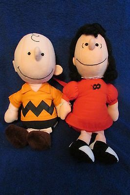 Vintage Charlie Brown and Lucy Cloth Dolls - Peanuts Gang