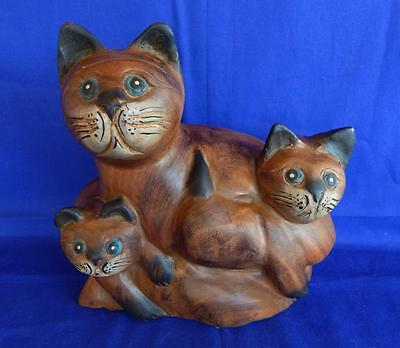 Vintage hand carved three wooden cats 3 cat kitten statue figurine made paint