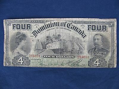 1902 Dominion of Canada $4 Four Dollar Banknote