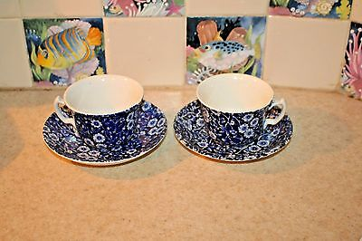 Burleigh Blue Calico Staffordshire Set of 2 Cups and Saucers Excellent Condition