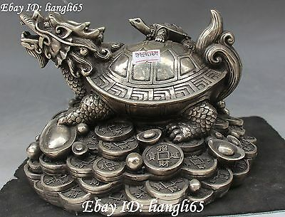 Silver Fengshui Wealth Money Yuan Bao Dragon tortoise Turtle Son Animal Statue