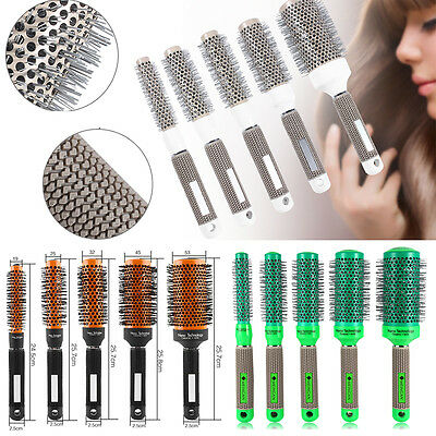 Roll Hair Brush Ceramic Iron Round Comb Barber Dressing Salon Styling 5Sizes JS