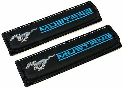 Leather Car Seat Belt Shoulder Pads Covers Cushion For Ford Mustang Blue 2 pcs