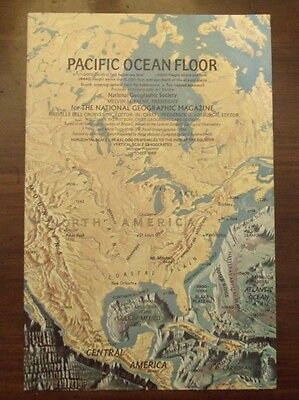 National Geographic Map Of The Pacific Ocean & Floor October 1969 Mint