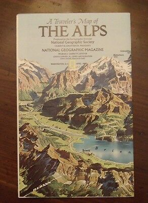 National Geographic A Traveler's Map Of The Alps April 1985