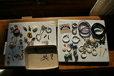 Old Vintage Lot of Mixed Jewelry Earrings Clip On & Pierced Bangle Bracelets Pin