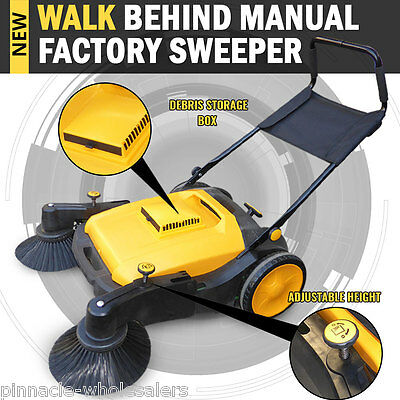 NEW Industrial Manual Walk Behind Floor Sweeper 50L Capacity Storage
