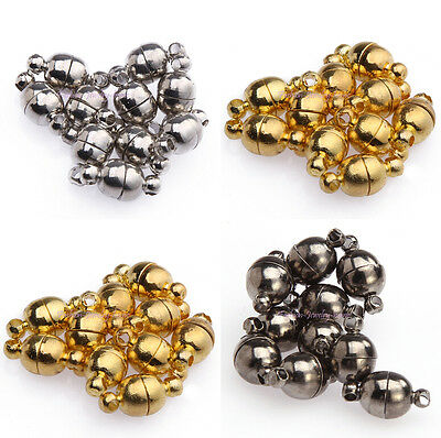 10 Sets Silver/Gold/Black Plated Magnetic Clasps Jewelr Round Shaped Ball 6/8mm