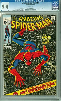 Amazing Spider-man 100 CGC 9.4 NM Near Mint White Pages Key Anniversary Issue