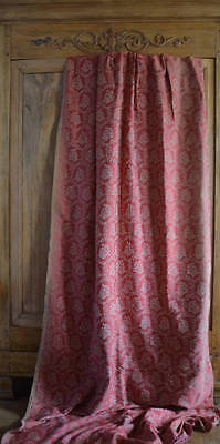 Antique French long wool and silk brocade curtain, gently faded
