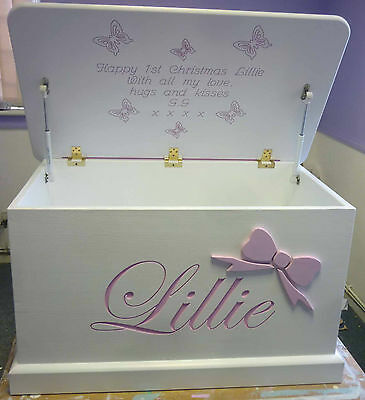 Personalised children's toy box carved in  letters all hand made toy box