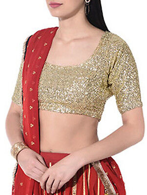 Golden Sequence Bollywood Top Blouse Bellydance Tiki Choli Blouse Indian Shirt