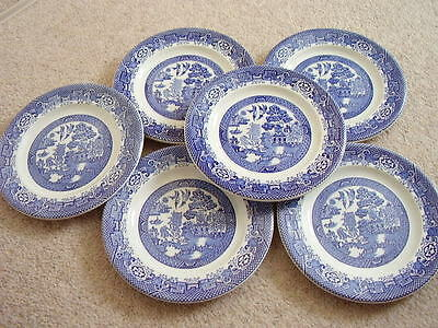 Woods ware Willow England porcelain blue and white plate,set of 6pieces