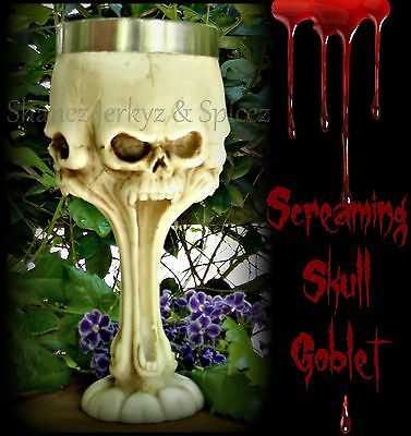 ~SCREAMING GOTHIC SKULL GOBLET~Boxed~Alcohol~Wine Glass~Bar~Halloween~Mug~Cup