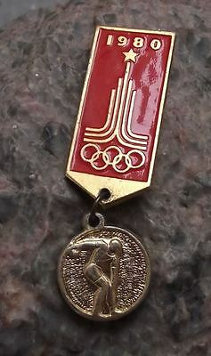 1980 Moscow Summer Olympic Games Discus Field Events Medal Style Pin Badge