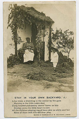 Stay in Your Own Backyard Vintage Bamforth Racist Song Card Photo Postcard X