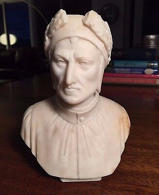 DANTE ALIGHIERI MARBLE BUST Made in Italy Divina Comedia Statue Roman Bessi