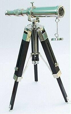 10 Solid Brass Telescope With Tripod Stand Decorative Collectable