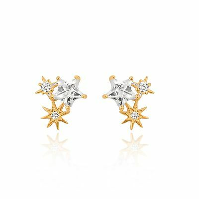 f9a373669 Sterling silver (925) gold plate star starburst stud earrings. Gift box