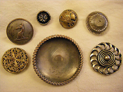 Seven Assorted Vintage Buttons – Glass, Brass, Filigree, Plated, White Metal