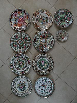 Lot of 10 Vintage Chinese China Famille Rose Medallion Porcelain Plate