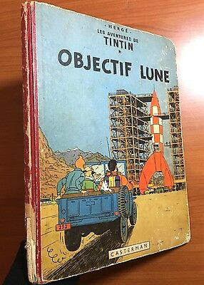 TINTIN: Objectif Lune 1953 1st Edition Originale Casterman EO Herge Moon First