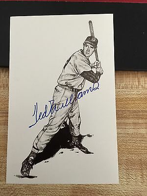 Autographed Ted Williams Boston Red Sox Postcard HOF Baseball Mint