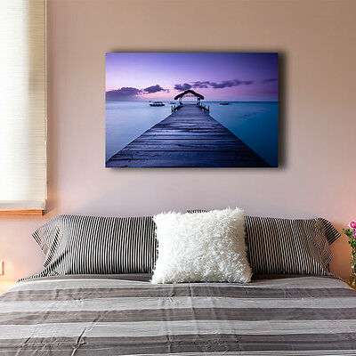 Beach Side Wharf Stretched Canvas Print Framed Wall Art Home Decor Painting III